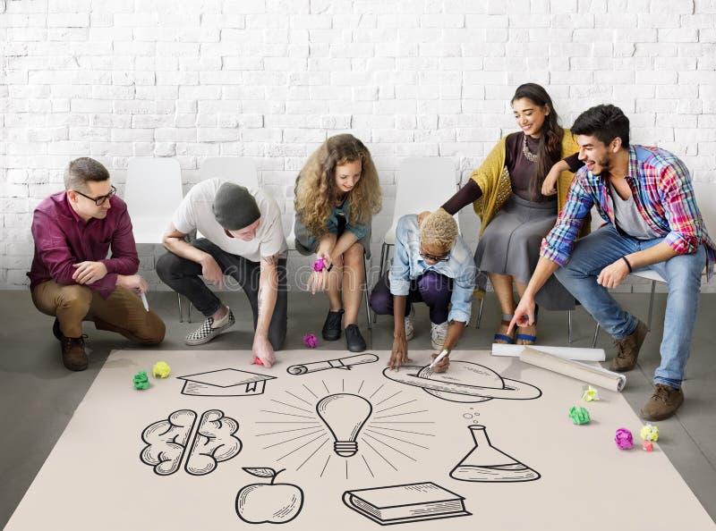 Istruzione che impara concetto di conoscenza di studio di idee immagini stock