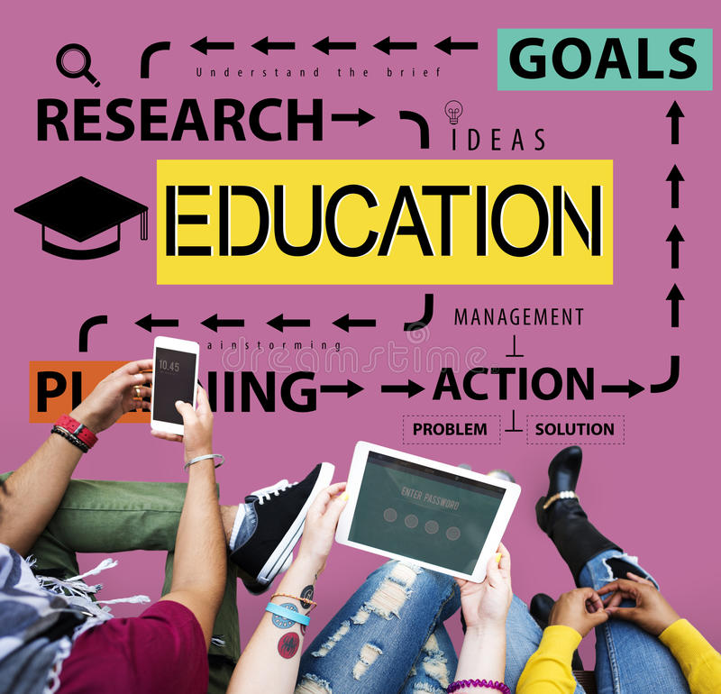 Istruzione che impara concetto di scopi di ricerca fotografia stock libera da diritti