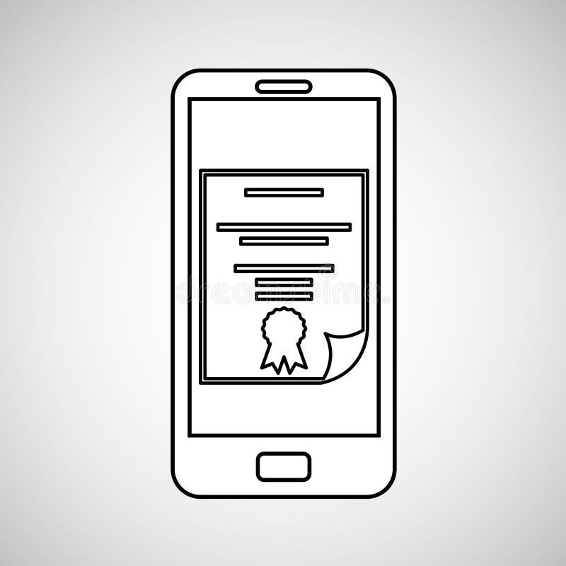 Istruzione del dispositivo mobile del diploma illustrazione di stock