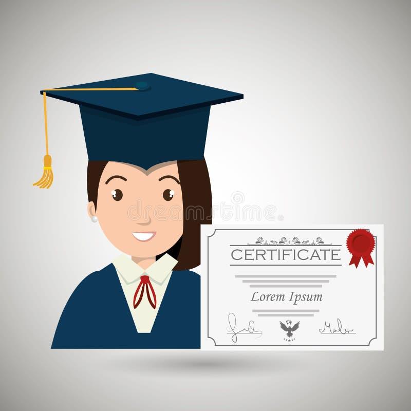 istruzione di graduazione della donna dello studente illustrazione di stock