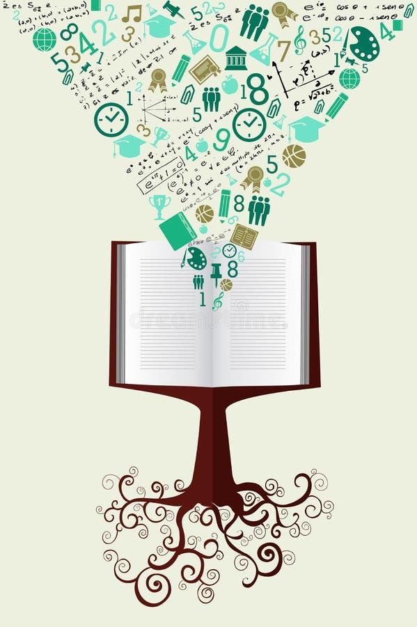 Istruzione di nuovo all'albero del libro delle icone di verde della scuola. illustrazione vettoriale