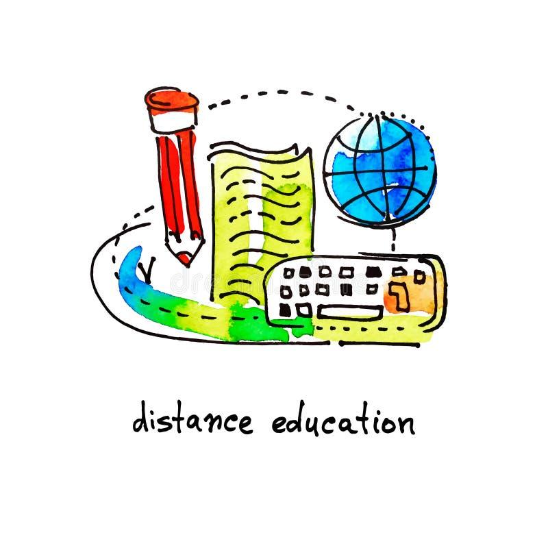 Istruzione a distanza di progettazione dell'icona dell'acquerello di schizzo royalty illustrazione gratis