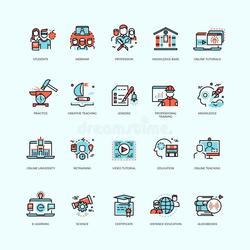 Istruzione a distanza e formazione di corsi, del video e del personale di esercitazioni online illustrazione di stock