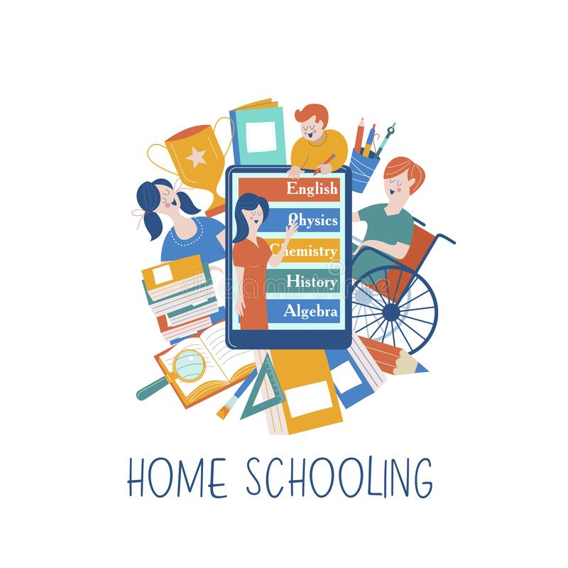 Istruzione domestica Illustrazione di vettore Un utente di sedia a rotelle è istruito a casa illustrazione vettoriale