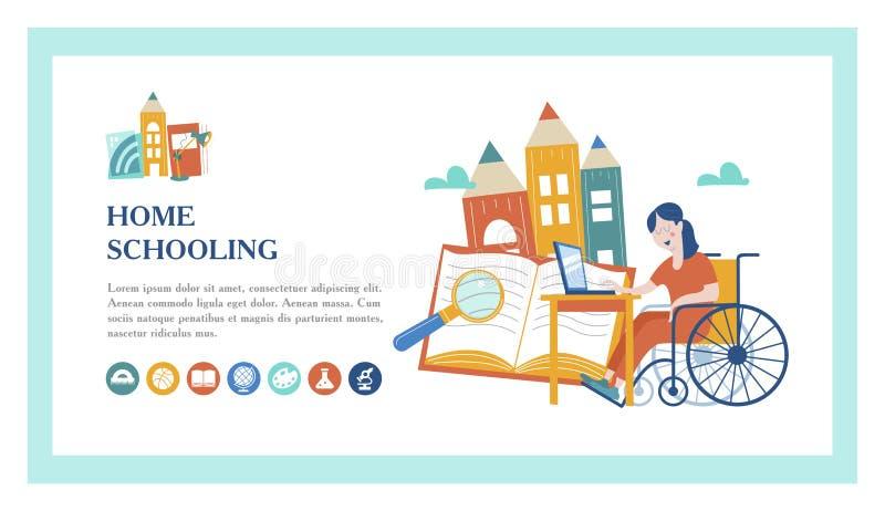 Istruzione domestica Illustrazione di vettore Un utente di sedia a rotelle è istruito a casa illustrazione di stock