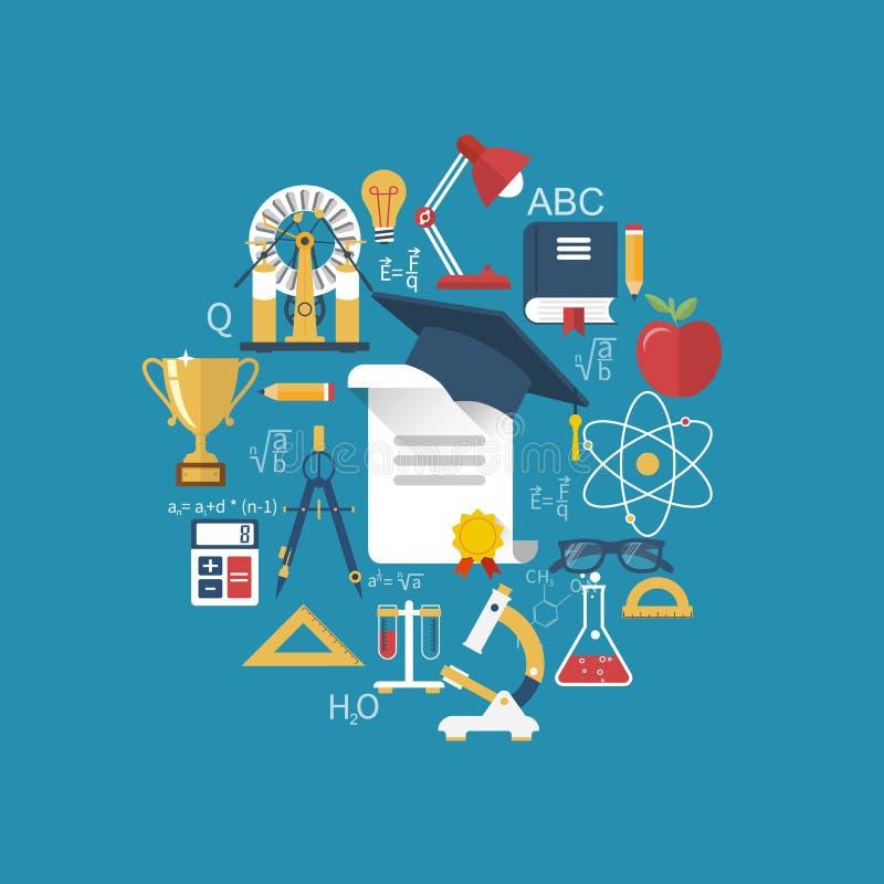 Istruzione e concetti di apprendimento illustrazione vettoriale