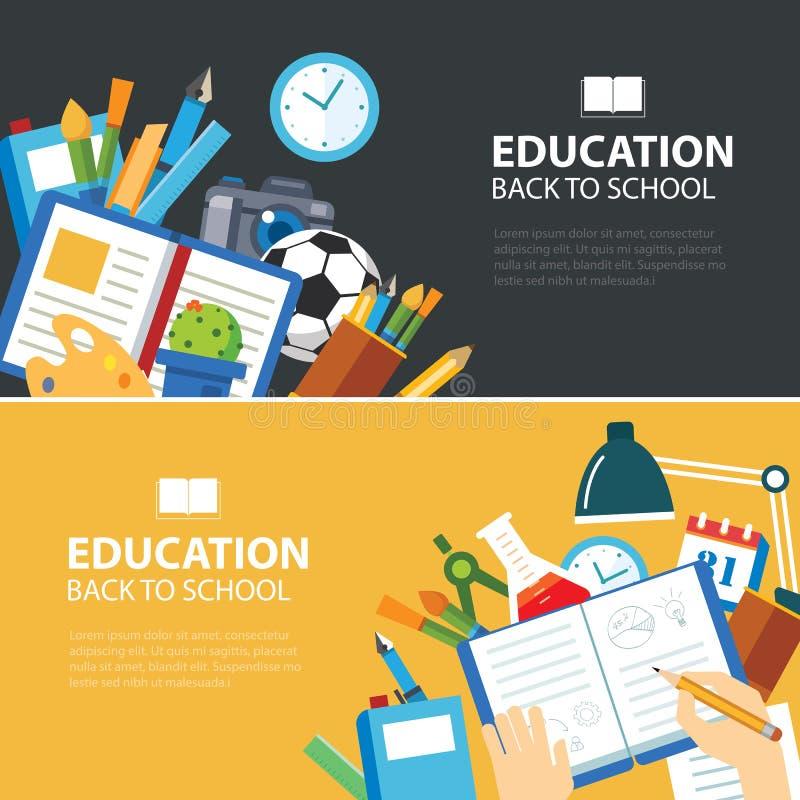 Istruzione e di nuovo a progettazione piana di concetto dell'insegna di scuola illustrazione di stock