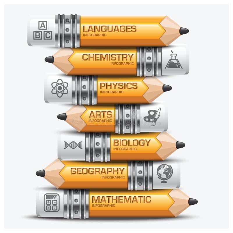 Istruzione e matita di apprendimento del punto tematico Infographic Diagra illustrazione vettoriale
