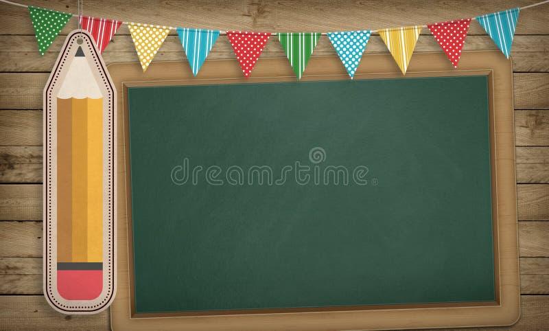 Istruzione, etichetta della matita e lavagna in bianco del segno, spazio della copia immagine stock libera da diritti