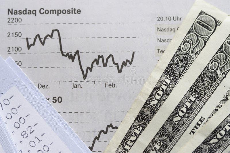 Istruzione finanziaria di cliente, del diagramma e dollari fotografie stock