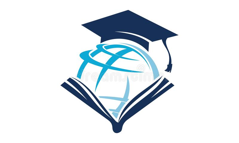 Istruzione Logo Design Template del mondo illustrazione vettoriale
