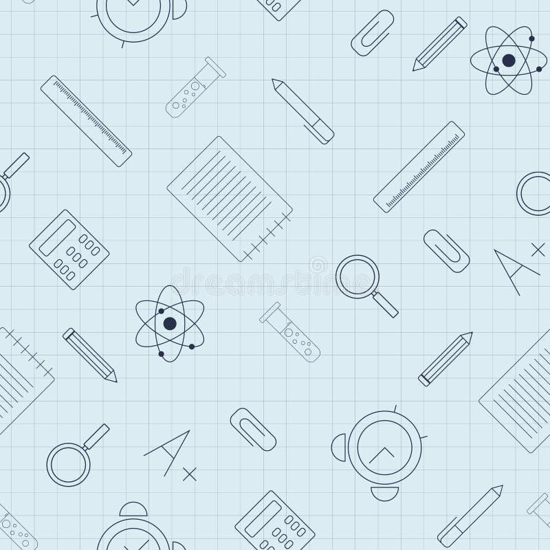 Istruzione Modello senza cuciture con i rifornimenti di scuola sullo strato di carta illustrazione vettoriale