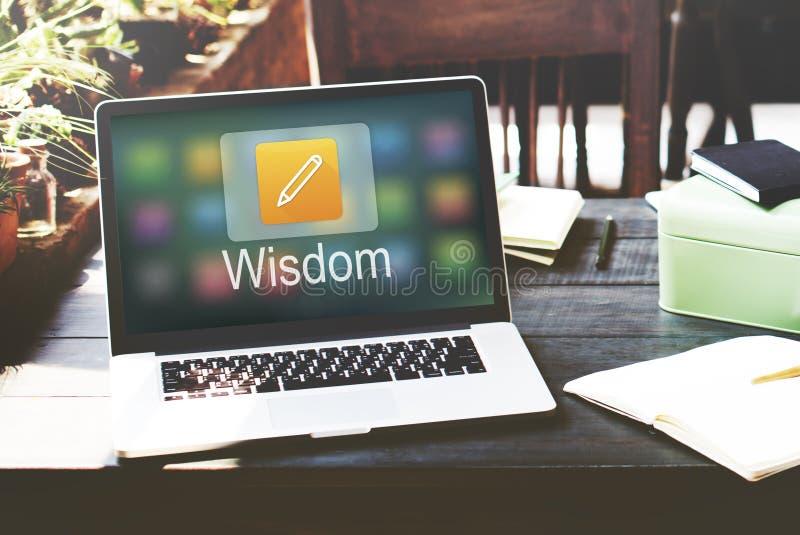 Istruzione online dell'icona della matita che impara concetto grafico immagini stock