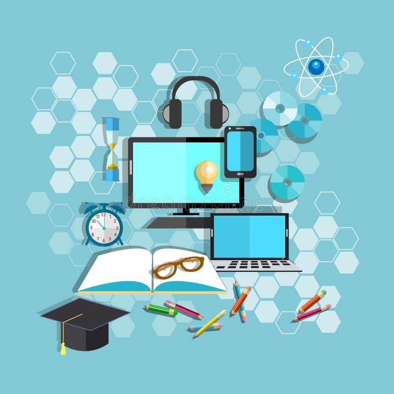 Istruzione, online imparante, scrittorio dello studente, scuola, istituto universitario royalty illustrazione gratis