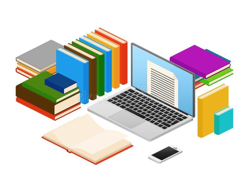 Istruzione online, negozio del libro elettronico di web, concetto isometrico di vettore delle biblioteche illustrazione di stock