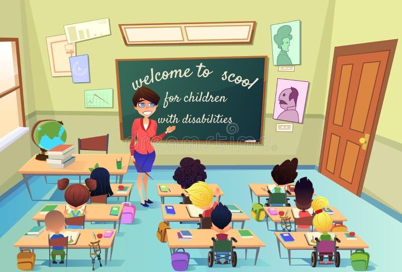Istruzione per i bambini con il vettore speciale di bisogni royalty illustrazione gratis