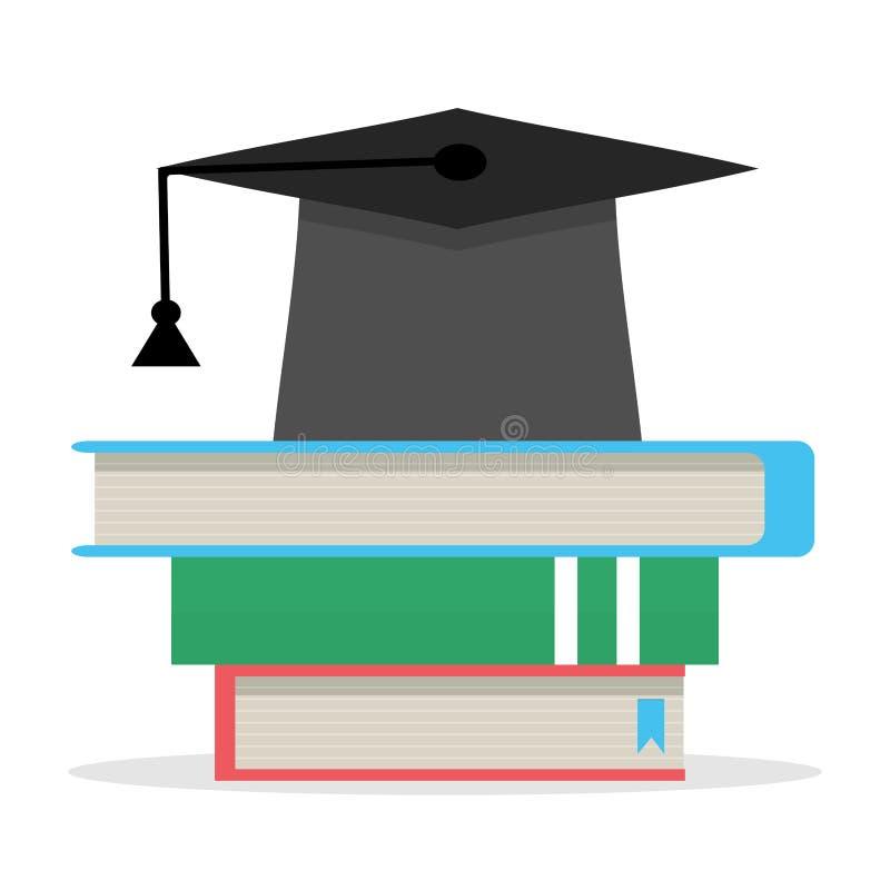Istruzione, pila di libri e cappello illustrazione vettoriale