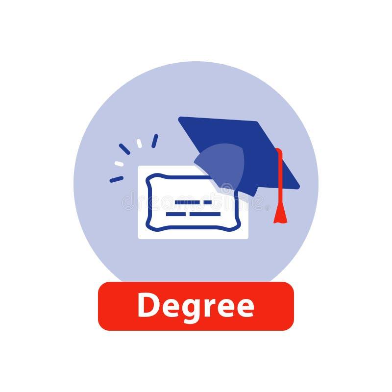 Istruzione scolastica di scuola di commercio, cappuccio di graduazione, titolo universitario, icona piana del diploma illustrazione di stock
