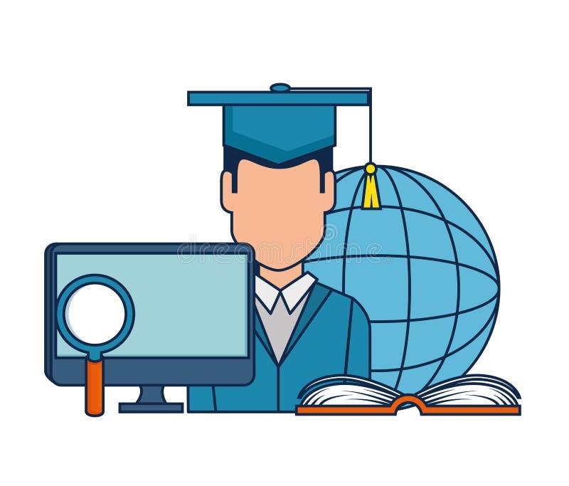 Istruzione sulla linea con graduato illustrazione vettoriale