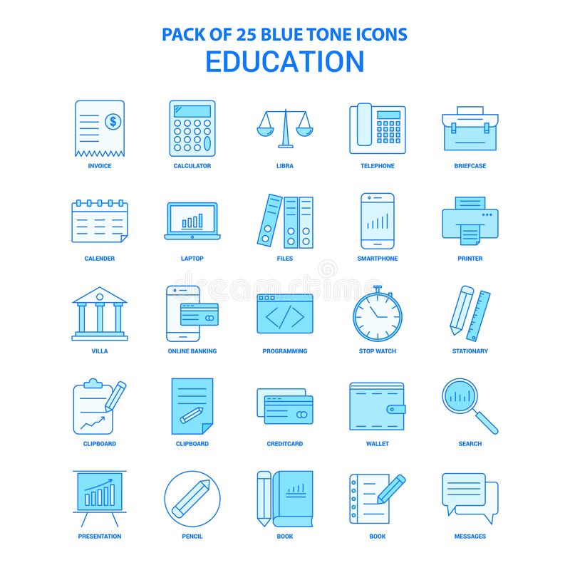 Istruzione Tone Icon Pack blu - 25 insiemi dell'icona illustrazione vettoriale