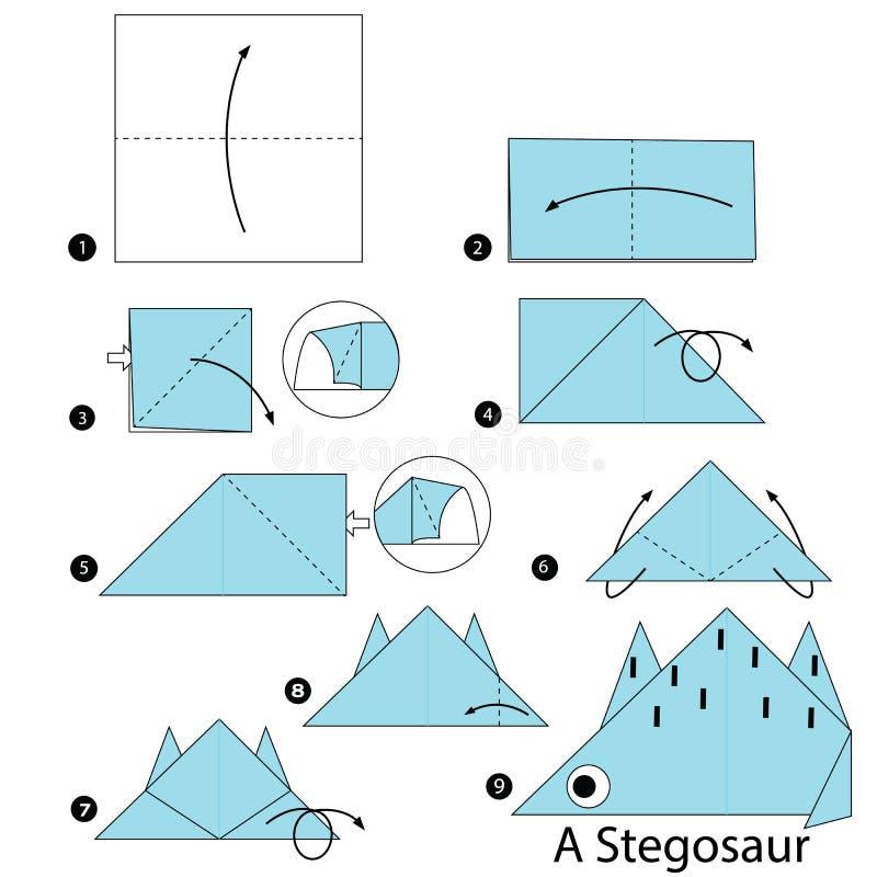 Istruzioni graduali come fare il dinosauro di origami A illustrazione vettoriale