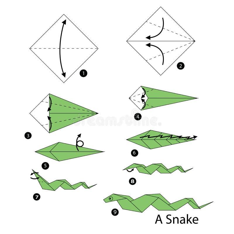 Istruzioni graduali come fare il serpente di origami illustrazione di stock