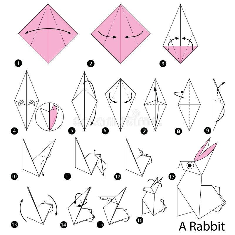 Istruzioni graduali come produrre ad origami un coniglio illustrazione vettoriale