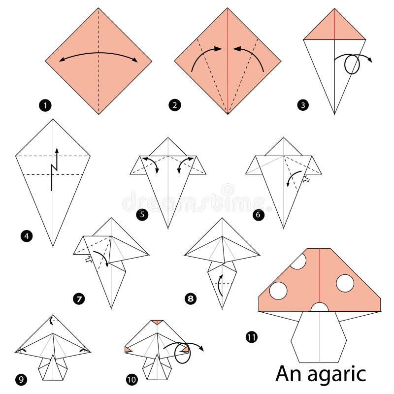 Istruzioni graduali come rendere ad origami un agarico royalty illustrazione gratis