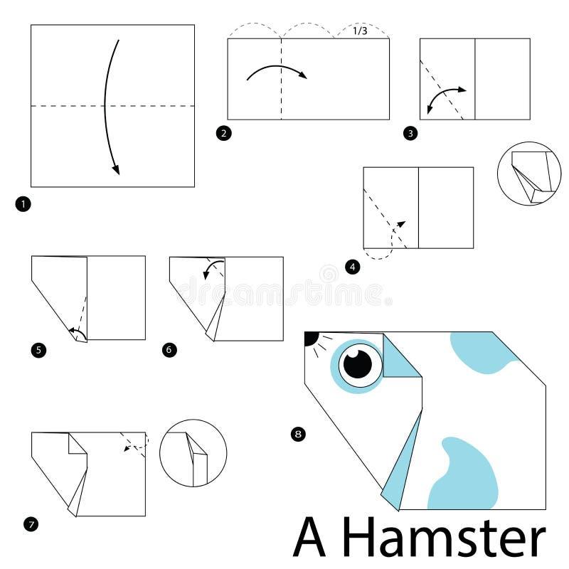Istruzioni graduali come rendere ad origami un criceto royalty illustrazione gratis