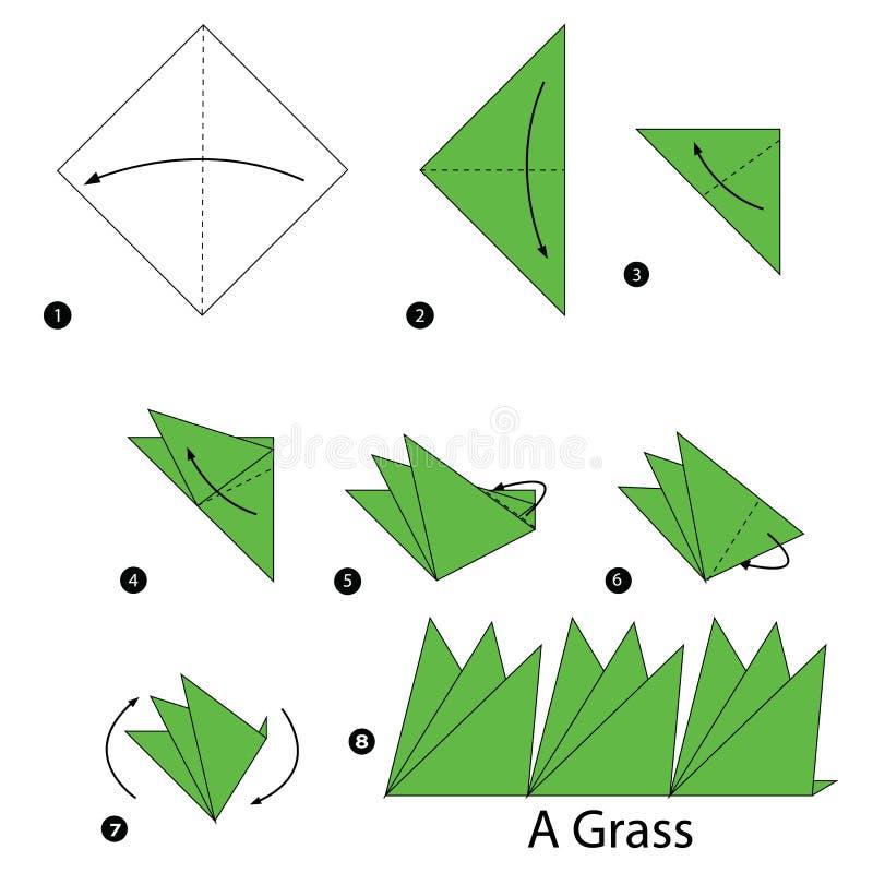 Istruzioni graduali come rendere ad origami un'erba royalty illustrazione gratis