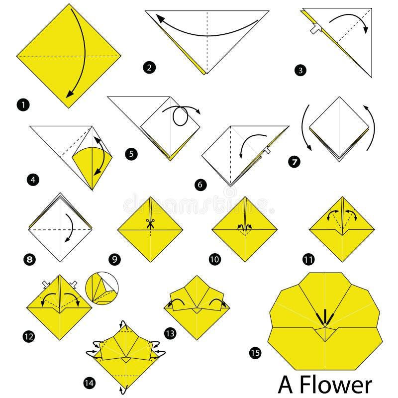Istruzioni graduali come rendere ad origami un fiore royalty illustrazione gratis