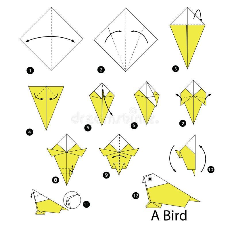 Istruzioni graduali come rendere ad origami un uccello illustrazione vettoriale