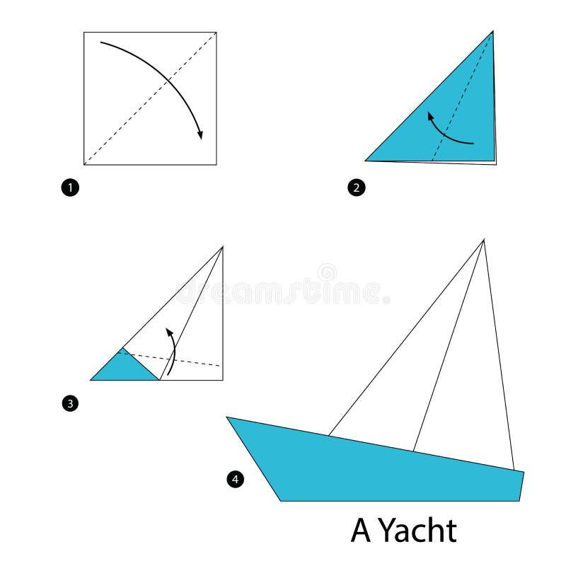 Istruzioni graduali come rendere ad origami un yacht illustrazione vettoriale