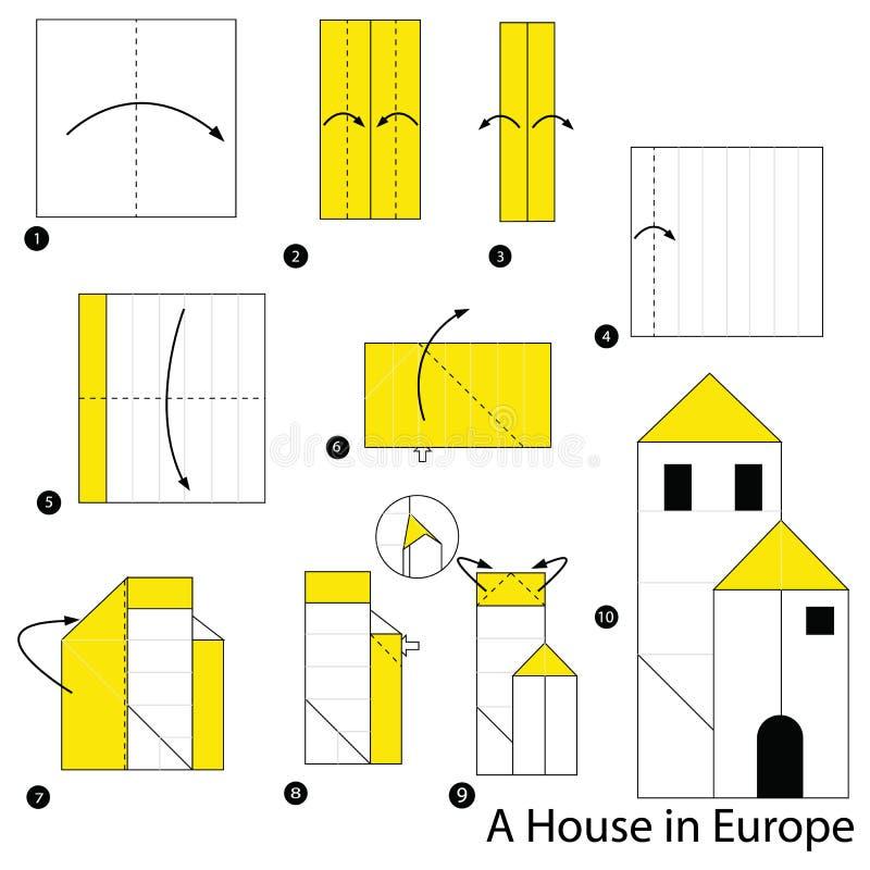 Istruzioni graduali come rendere ad origami una Camera in Europa illustrazione di stock