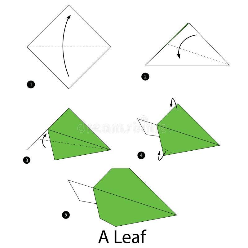 Istruzioni graduali come rendere ad origami una foglia royalty illustrazione gratis
