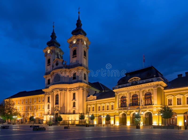 Istvan Dobo square in Eger royalty free stock photography