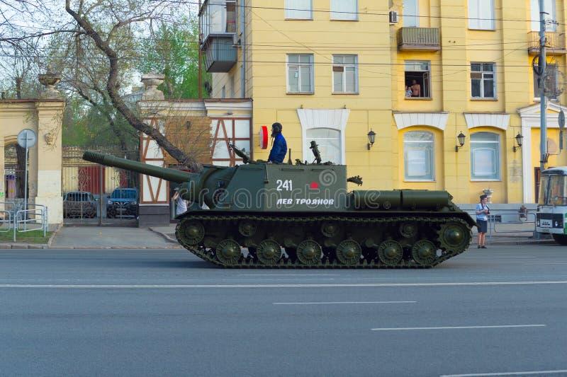 ISU-152 heavy artillery gun is driving along Lenin Avenue. Chelyabinsk, Russia - May 2019: ISU-152 heavy artillery gun named Lev Troyanov is driving along Lenin royalty free stock photo