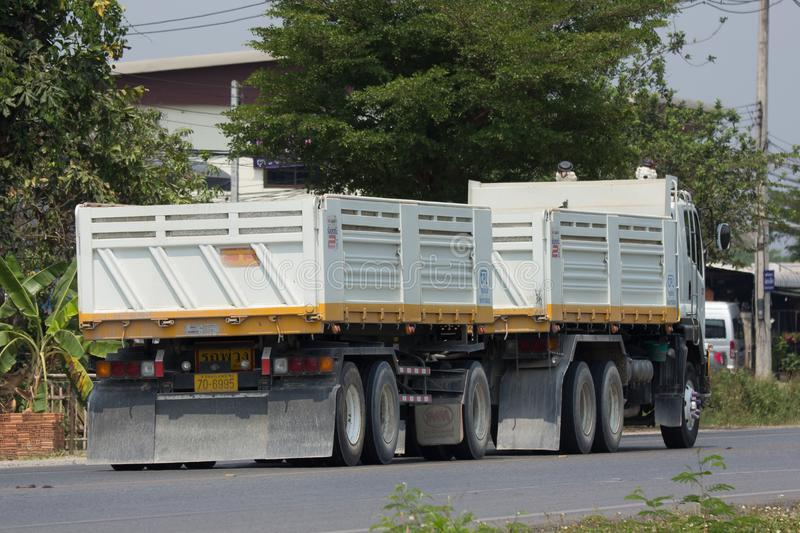 Isuzu Trailer dump truck of D stone company. CHIANG MAI, THAILAND - APRIL 5 2018: Isuzu Trailer dump truck of D stone company. On road no.1001, 8 km from royalty free stock images