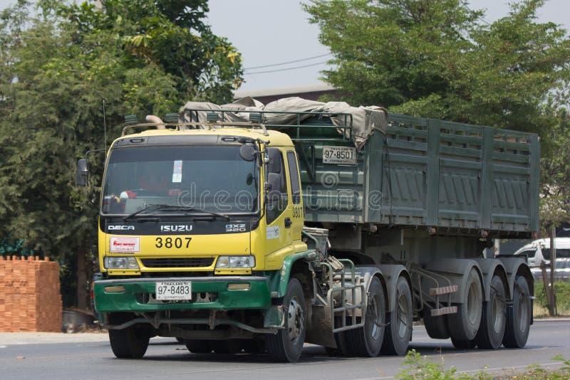 Isuzu Trailer dump truck of D stone company. CHIANG MAI, THAILAND - APRIL 5 2018: Isuzu Trailer dump truck of D stone company. On road no.1001, 8 km from stock photography