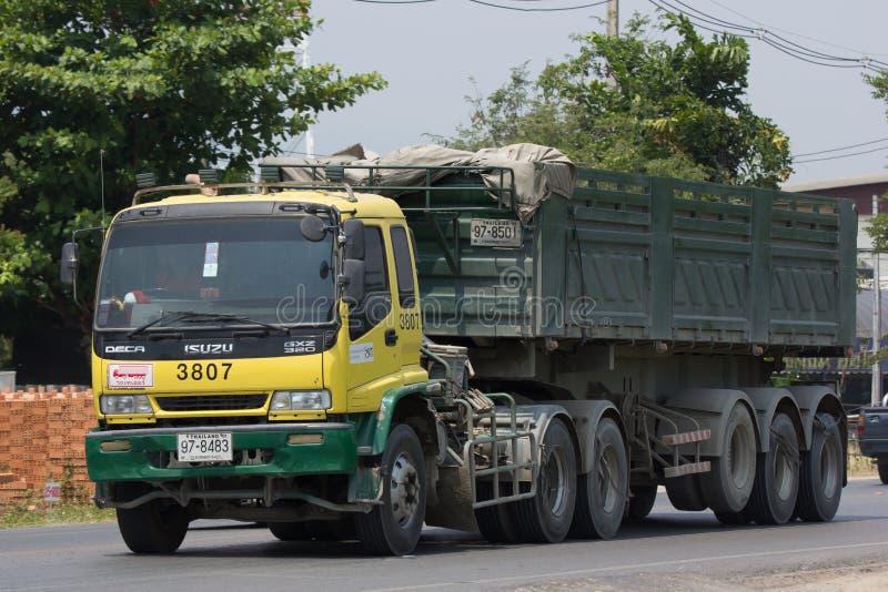 Isuzu Trailer dump truck of D stone company. CHIANG MAI, THAILAND - APRIL 5 2018: Isuzu Trailer dump truck of D stone company. On road no.1001, 8 km from stock photos