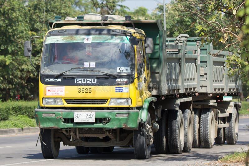 Isuzu Trailer dump truck of D stone company. CHIANG MAI, THAILAND -NOVEMBER 13 2017: Isuzu Trailer dump truck of D stone company. On road no.1001, 8 km from royalty free stock images