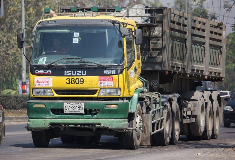 Isuzu Trailer dump truck of D stone company. Chiangmai, Thailand - February 25 2019: Isuzu Trailer dump truck of D stone company. On road no.1001, 8 km from stock image