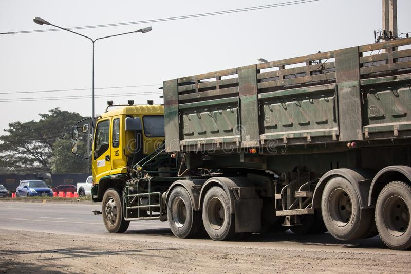 Isuzu Trailer dump truck of D stone company. Chiangmai, Thailand - January 29 2019: Isuzu Trailer dump truck of D stone company. On road no.1001, 8 km from royalty free stock images