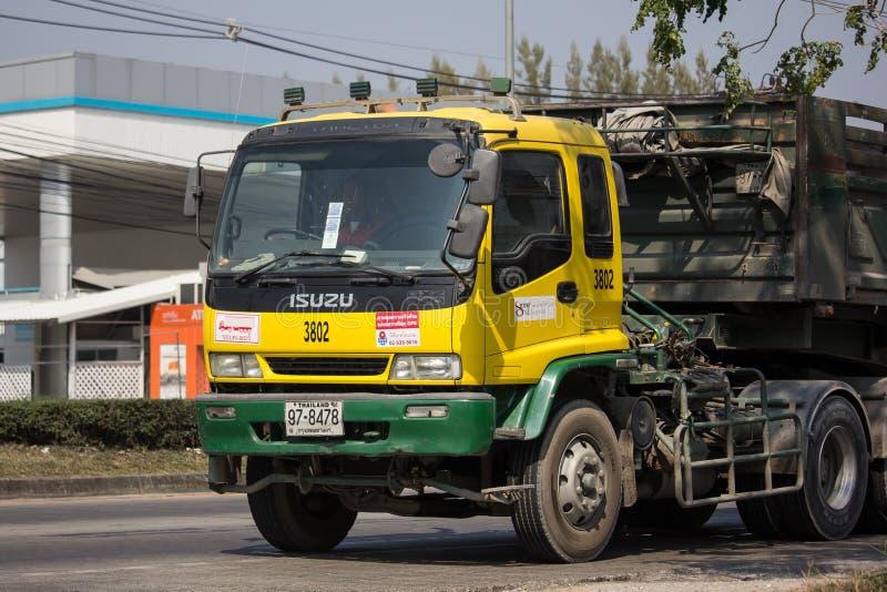 Isuzu Trailer dump truck of D stone company. Chiangmai, Thailand - January 29 2019: Isuzu Trailer dump truck of D stone company. On road no.1001, 8 km from royalty free stock photos