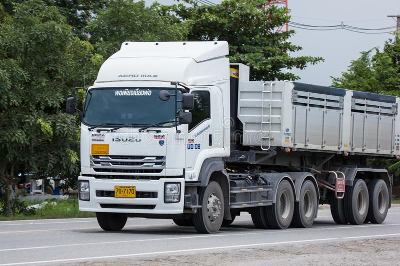 Isuzu Trailer dump truck of D stone company. Chiangmai, Thailand - July 13 2018: Isuzu Trailer dump truck of D stone company. On road no.1001, 8 km from royalty free stock images