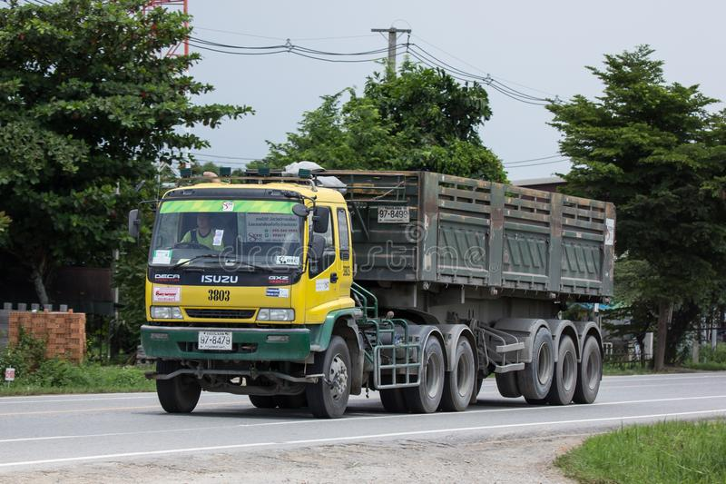 Isuzu Trailer dump truck of D stone company. Chiangmai, Thailand - July 13 2018: Isuzu Trailer dump truck of D stone company. On road no.1001, 8 km from royalty free stock photography