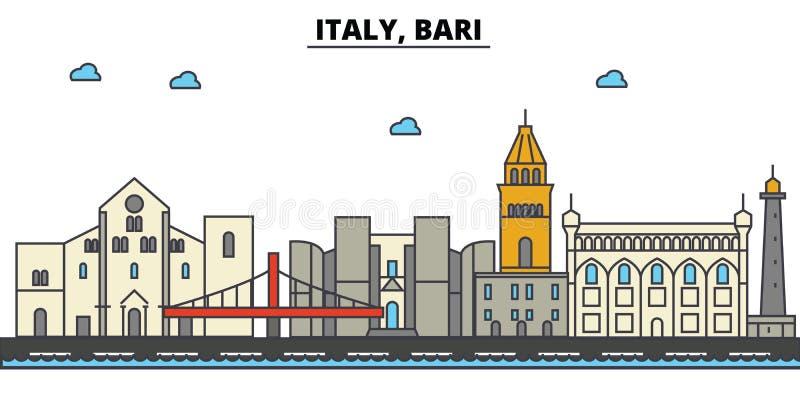 Itália, Bari Arquitetura da skyline da cidade Cursos editáveis ilustração do vetor