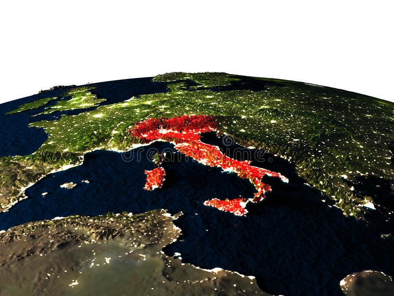 Itália do espaço na noite ilustração stock