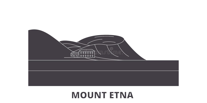 Itália, grupo liso da skyline do curso de Monte Etna Itália, ilustração do vetor da cidade do preto de Monte Etna, símbolo, vista ilustração do vetor