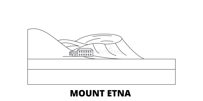 Itália, linha grupo de Monte Etna da skyline do curso Itália, ilustração do vetor da cidade do esboço de Monte Etna, símbolo, vis ilustração do vetor